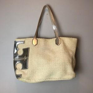Tory Burch Straw and Gold Tote